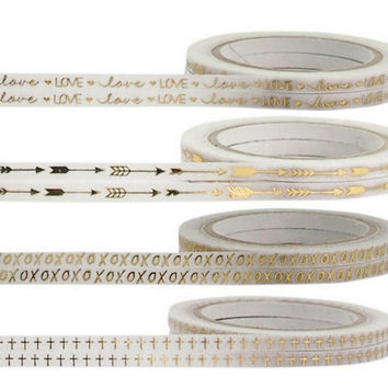 Now In Stock  Full Rolls Thin Washi Tape, Choose Your Designs White And Gold Foil Metallic Tape Love,XOXO,Cross,Arrow