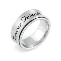 """Spinner Ring - Friend Ring Engraved with """"Forever Friends"""", Sizes 6 to 9"""