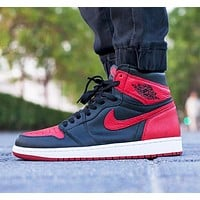 NIKE AIR JORDAN 1 New fashion hook couple high top contrast color shoes