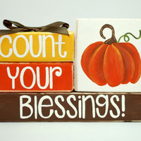 Thanksgiving Count Your Blessings Pumpkin WoodenBlock Shelf Sitter Stack