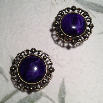 """Vintage Bronze Crest Plugs with Purple Marbled Stone 10mm (3/8"""")(00g) 12mm (1/2"""") 14mm (9/16"""") 16mm (5/8"""") 18mm (11/16"""")(BSD105)"""