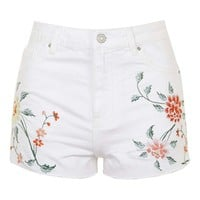 MOTO Embroidered Mom Shorts - Topshop