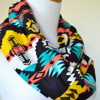Bold Tribal infinity Scarf- Hippie Infinity- Tribal accessories