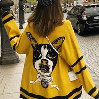New Yellow Patchwork Print Pockets V-neck Casual Cardigan Sweater