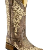 Corral Brown Crater Embroidered Cowgirl Boots - Square Toe - Sheplers