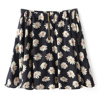 ROMWE Floral Print Zippered Navy-blue Skirt