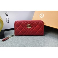 GUCCI fashion hot seller: ladies' double G color casual long handbag Red