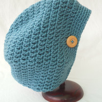 Dusk Blue Child's Slouchy Hat with Wooden Button, Handmade to fit ages 2-5, Toddler Hipster Beanie, Spring Preschooler Hat, Crochet