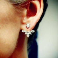 Fashion Lady Women Elegant Long Crystal Rhinestone Ear Stud Hook Earrings Jewelry Multiple water droplets