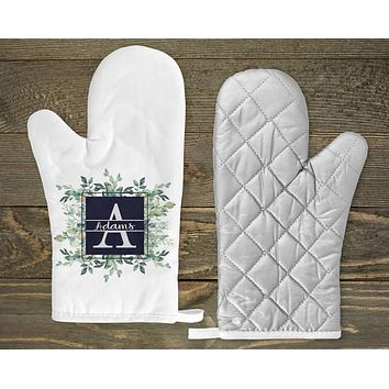 Personalized Oven Mitts | Custom Kitchen Decor | Succulent Bouquet | Blue and Green Floral | Monogram