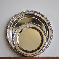 2 Round Silver Trays, Pair of Oneida Rogers Maybrook Silver Plated Trays, Wedding, Entertaining, Silver Serving Trays, Round Platter