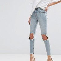 One Teaspoon Freebird Highwaist Crop Jean with Rips and raw hem at asos.com