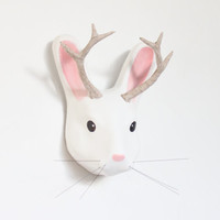 White paper mache head sculpture of mythical animal Jackalope (jackrabbit with antelope horns), interior and nursery decor