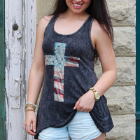American Flag Cross Tank {Black}