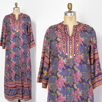 Vintage 70s Ethnic DRESS / 1970s Indian Cotton Mirrored Embroidered Caftan Maxi
