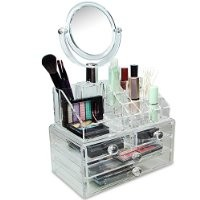 Mooca Luxury Acrylic Cosmetic Make Up Organizer With Two Sided Mirror