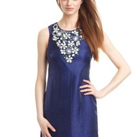 NWT $259 ALEXIA ADMOR NEW YORK MIDNIGHT BLUE FLORAL APPLIQUE SHEATH DRESS L