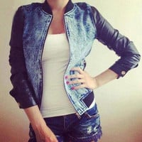 Fashionable Stand-Up Collar PU Leather Splicing Denim Jacket For Women