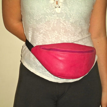 90s Leather Fanny Pack Hot Pink Knapsack w Zipper Pockets
