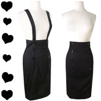 New Black High Waisted Pencil Skirt M Rockabilly 40s 50s Pinup Suspender Straps