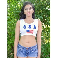 USA White Crop Tank Top / Made in USA