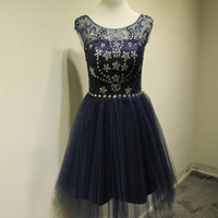 Cap Sleeves Beaded Backless O-neck Homecoming Dresses