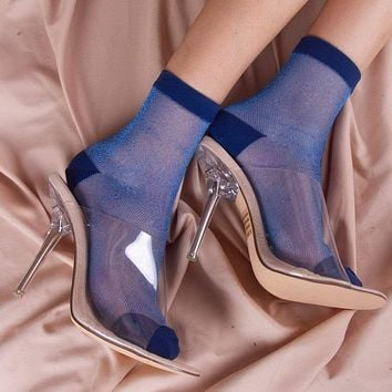 Gia Sheer Mesh Sock | Blue