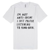 Punk-Rock Antisocial-Unisex White T-Shirt