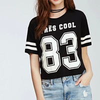 Black Letter Print Stripe Short-Sleeve Baseball Shirt