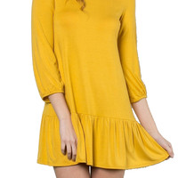 Round Neck and Ruffled Hem Dress