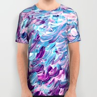 FROSTED FEATHERS 1 Colorful Lavender Purple Lilac Serenity Rose Quartz Ombre Ocean Splash Abstract All Over Print Shirt by EbiEmporium