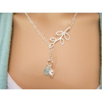 Lariat Necklace GENUINE Aqua Sea Glass Jewelry With Pearl Gift For Her Sterling Silver Statement