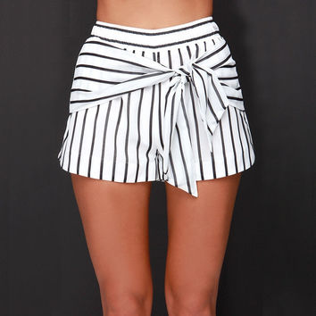 Black And White Striped Bow Tie Shorts