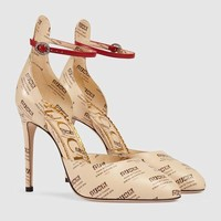 Gucci - Leather Gucci invite print pump