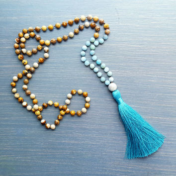 Hand-knotted Amazonite & Picture Jasper Tassel Necklace