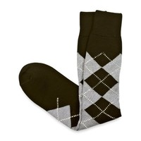 Paul Fredrick Over-the-Calf Argyle Socks Black / White 000