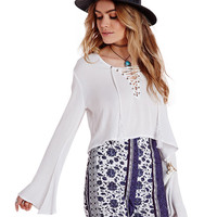 V-neck Lace-up Bell Sleeve Cropped Blouse