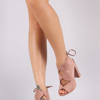 Suede Diamond Cut Out Chunky Heel Mules