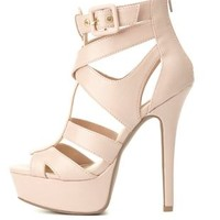 Buckled Strappy Platform Heels by Charlotte Russe