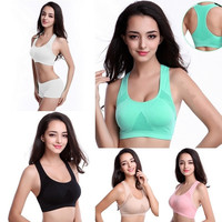 Smmer style  Women Sexy Racerback Stretch Yoga Athletic Sports Bras Crop Bra Tops Padded = 1932335044