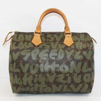 Auth LOUIS VUITTON Speedy 30 Monogram graffiti line Khaki M92194 LV 235763