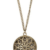 Gold-Colored Flower Pendant With Rhinestones - Gold/Black