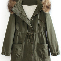 ROMWE | Hooded Fake Leather Pocketed Green Down Coat, The Latest Street Fashion