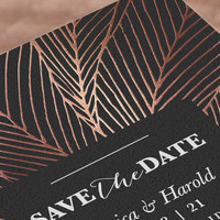 """""""dearly lines"""" - Customizable Foil-pressed Save The Date Cards in Black by aticnomar."""