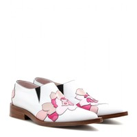 Flower Appliqué leather loafers