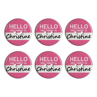 Christine Hello My Name Is Plastic Resin Button Set of 6