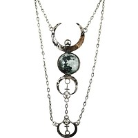 Gothic Beauty Dark Magic Witchcraft Wolf Luna Full Moon Pendant Necklace
