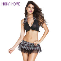 Sexy Women Lingerie Set Tartan Plaid Mesh Schoolyard Playmate Costume Cosplay Uniform Fantasias Sexy Erotic Suit Black