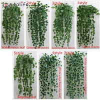 1 pcs 90cm cheap Artificial Ivy Leaf Artificial Plants Green Garland Plants Vine Fake Foliage Home Decoration Wedding Decoration