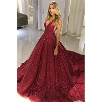 Burgundy Sparkly Prom Dress Glitter V Neck Straps Evening Dresses